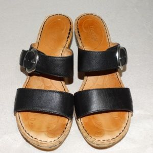 BORN Zee Black leather Slide Wedge Sandals Size 8